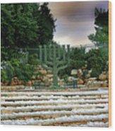 Menorah At Knesset Wood Print