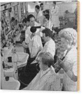 Men's Hairdressing Wood Print by Maurice Ambler
