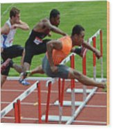Mens Hurdles Wood Print
