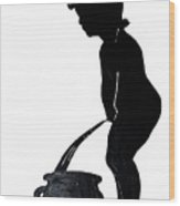 Mens Room Sign Silhouette Wood Print