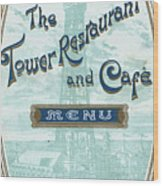 Menu For Lunch At Blackpool Tower Restaurant Wood Print