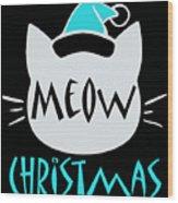 Meow Christmas Wood Print
