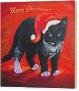 Meow Christmas Kitty Wood Print