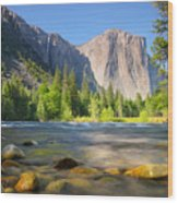 Merced River In Yosemite Valley Wood Print by Buck Forester