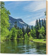 Merced River In Yosemite Valley Wood Print