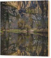 Merced River Morning Light Reflection Wood Print