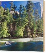 Merced River With The El Capitan Yosemite  National Park California Wood Print