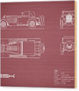 Mercedes Ssk Blueprint - Red Wood Print