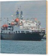 Merchant Marine Training Ship Kennedy And Tugboats Wood Print