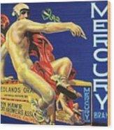Mercury Greek God Label Wood Print