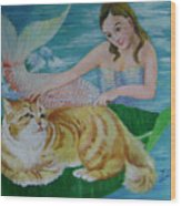 Mermaid And Cat Wood Print