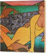 Mermaid And Friends Wood Print