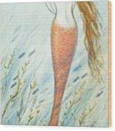 Mermaid And Her Catfish, Goldie Wood Print