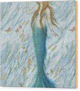 Mermaid And Her Golden Seahorse Wood Print