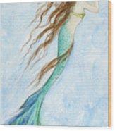 Mermaid And Her Seahorse Wood Print