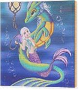 Mermaid And Sea Dragon Wood Print