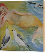 Mermaid And Seagulls Wood Print