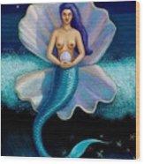 Mermaid Art- Mermaid's Pearl Wood Print