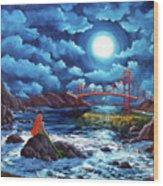 Mermaid At The Golden Gate Bridge  Wood Print