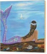Mermaid Beauty On The Beach Wood Print