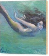 Mermaid Freedom Wood Print