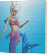 Mermaid In Aqua Wood Print