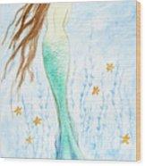 Mermaid In Her Garden Wood Print