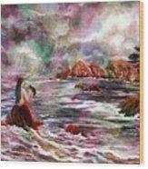 Mermaid In Rainbow Raindrops Wood Print