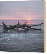 Mermaid In The Surf Wood Print