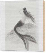 Mermaid Looking Out To Sea Wood Print