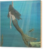 Mermaid Of Weeki Wachee Wood Print