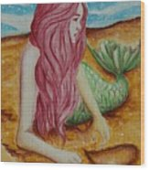 Mermaid On Sand With Heart Wood Print