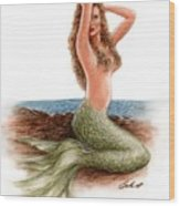 mermaid On The Shore Wood Print