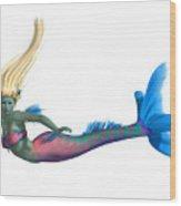 Mermaid On White Wood Print