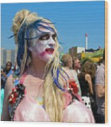 Mermaid Parade Man In Coney Island Wood Print