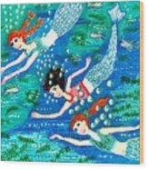 Mermaid Race Wood Print by Sushila Burgess