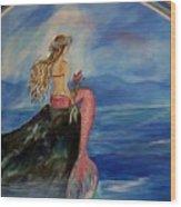 Mermaid Rainbow Wishes Wood Print