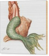 Mermaid Shell Wood Print