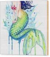 Mermaid Splash Wood Print