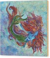 Mermaid Swimming Wood Print