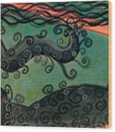 Mermaid Under The Sea Wood Print