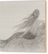 Mermaid Waiting Wood Print