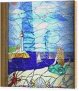 Mermaid Window  Wood Print
