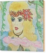 Mermaid With Music  Wood Print