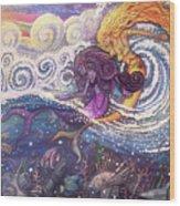 Mermaids In The Surf Wood Print