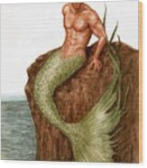 Merman On The Rocks Wood Print
