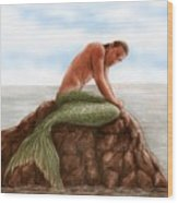 Merman Resting Wood Print