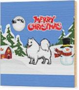 Merry Christmas American Eskimo Dog  Wood Print