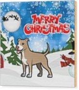 Merry Christmas American Pitbull Terrier  Wood Print