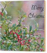 Merry Christmas - Berries Wood Print